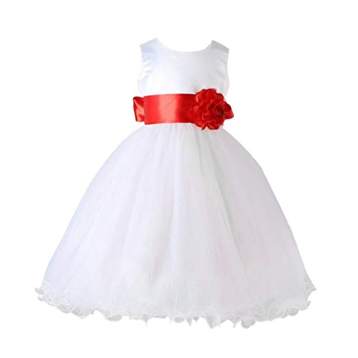 Vovotrade Formal Flower Girl Kid Christening Wedding Party Bridesmaid Princess Tulle Dress