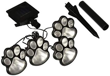 Briday Hot 4 Solar Dog Cat Animal Paw Print Lights Garden Outdoor LED Path Lamp Auto On