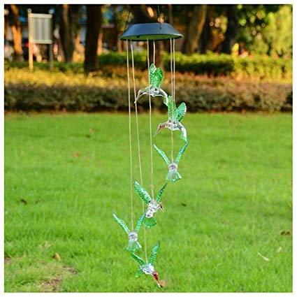 Hummingbird Solar LED Light Wind Chime Décor Lighting