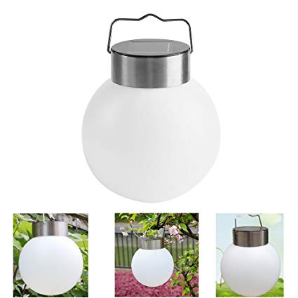 AVEKI Solar Hanging Ball Lights Outdoor, LED Solar Powered Globe Stainless Steel Hanging Hook Lamps Waterproof White Lantern Ball Landscape Lights for Garden Yard Patio Pathway (White)